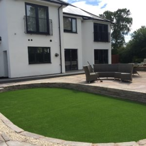 Modern House with Artificial Grass Lawn