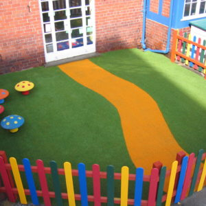 Artificial grass installation at nursery school in Chester