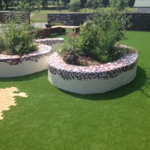 Artificial Grass around planters at Delamere Academy