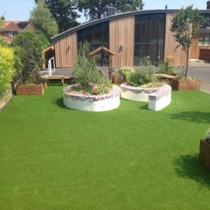 Outdoor learning area installed with artificial turf